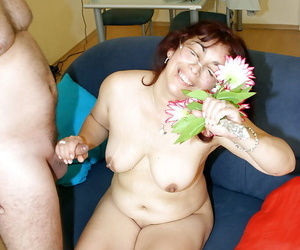 Licentious granny in glasses gets seduced added to pounded hardcore