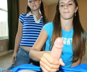 Slutty teen brunette showing off her cock jerking skills