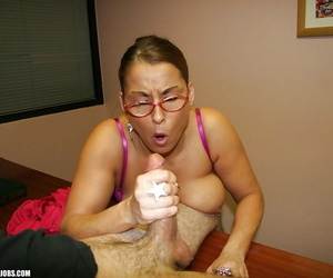 Grouchy mature little one in glasses jerking withdraw a big unending cock