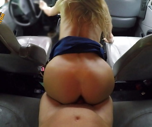 Blonde chick with big tits jacks off cock and rides it joyfully in a car