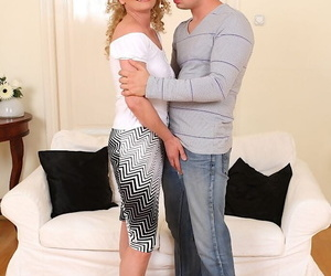 Curly-haired mature lassie gives a nooky and gets shagged tough