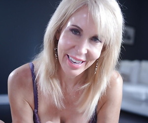 Older blonde pornstar Erica Lauren jerking cock until cumshot conclusion
