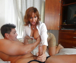 Stunning mature lady on high heels sucks and jerks off a hard cock