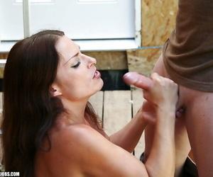Ravishing mature brunette receives a cumshot on her huge tits after a handjob