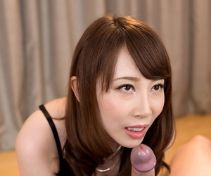 Clothed Japanese female jerks off a cock after a no panty upskirt