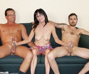 Libidinous grown-up night-time up glasses stroking missing two hard dicks