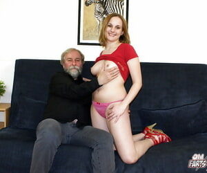 Sultry crumpet gets licked and convulsion banged by horny oldman