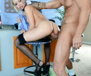 Slender blonde babe in stockings gets her pussy pounded hardcore