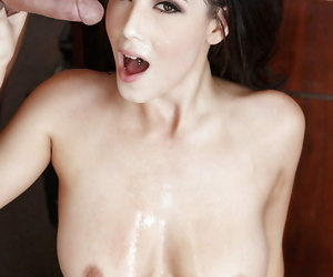 Hot secretary Noelle Easton letting wide-ranging natural pair loose and giving bj