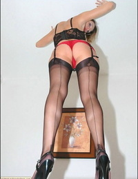 Luxurious babe in lacy lingerie and stockings displaying her fine ass