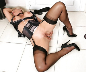 Top rated of age pornstar Amazing Astrid impressive erotic poses in nylons