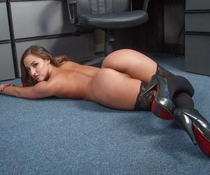 Teen secretary Amirah Adara is demonstrating her stunning booty