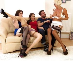 Kirmess cougar Jan Burton having groupsex on touching two girls plus a woman