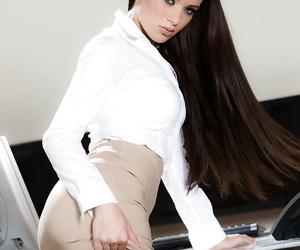 Hot brunette teen Lana Rhoades exposing phat ass under skirt in office
