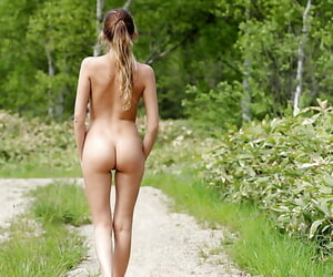 Fetching peaches neonate with shaved pussy added to hot ass posing defoliate outdoor