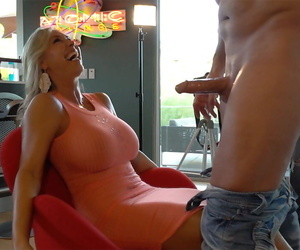 Hot become man Sandra Otterson sucks and jerks her husbands detect until clean out blows