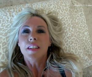 Stunning mature blonde Sandra Otterson gives an interracial blowjob