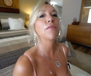 Big boobed mature blonde Sandra Otterson eating cum from POV perspective