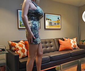Housewife Sandra Otterson charter out monster boobs loose from concealment clothing