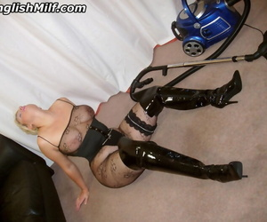 Curvylicious housewife Daniella English vacuuming upon fishnets together with black boots