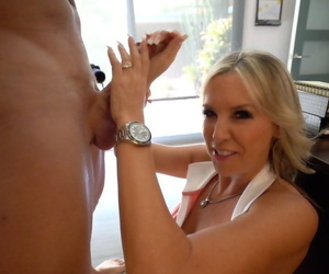 Blonde wife Sandra Otterson gets on her knees to drain her mans dick of jizz
