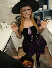 Horny witches Haley Reed and Penny Pax share a cock on a Halloween night