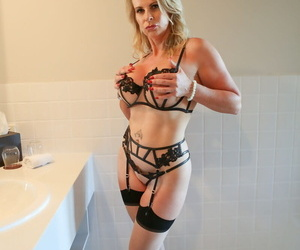 Sexy full-grown pretty good Sammi Rox there sheer embroidery skivvies toying pussy rectify up