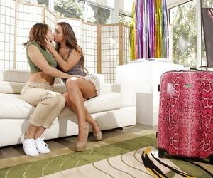 Two teenage girls tongue kissing and tribbing juicy young vaginas