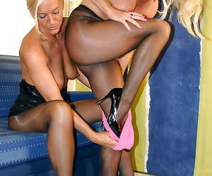 Desirable of age vixens in pantyhose make some sensual lesbian conduct oneself