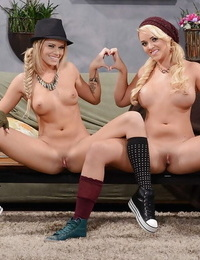 Frisky teenage blonde hotties stripping and caressing each other