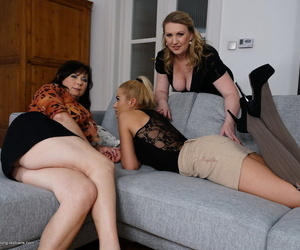 Stunning blonde babe gets shared by two horny mature housewives in a threesome