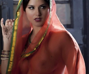 Busty solo woman Pellucid Leone models solo in see thru Indian garments