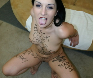 Dark haired Austrian slut Renee Pornero gets mouth fucked by a black man
