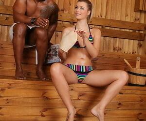 Horny teen European Charlyse Bella sucks unscrupulous blarney in interracial bang