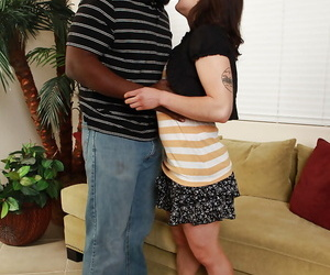Hairy- amateur babe would love to be a star of interracial porn flick