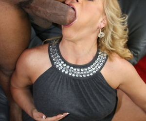 Blonde lady Stunning Summer bangs her sons black friend while he watches