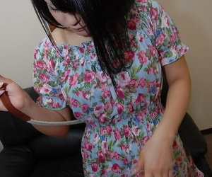 Asian teen Miku Makino striping respecting and demonstrating will not hear of muddy pink cleft