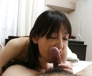Sizzling asian chick gives a sloppy blowjob plus gets her shaggy twat cocked up