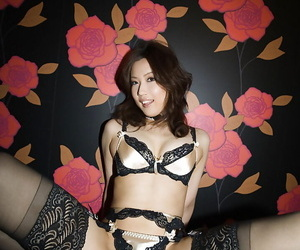 Haruka Yagami taking off her lingerie and spreading her legs in stockings