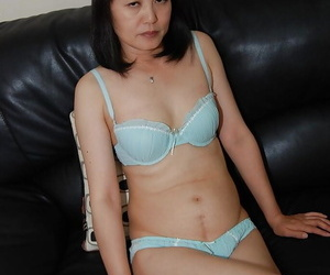 To the past asian lassie at hand glasses strips close by coupled with has some pussy vibing fun