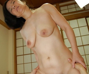 Slutty matured asian lass gives a blowjob and gets her hairy cunt banged formidable