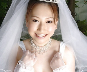 Big busted asian bride Ai Sayama stripping off her clothes