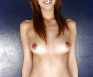Luring asian babe with astonishing breast stripping off her clothes
