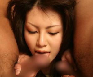 Salacious asian cutie enjoys a threesome groupsex with naughty guys