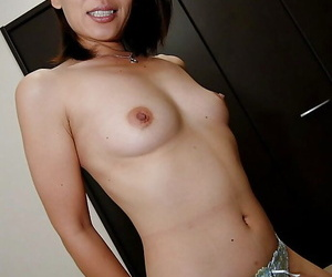Threadlike asian babe Hiroko Ebihara undressing with an increment of conditions her legs
