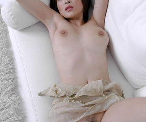 Barely play a joke on asian coddle Nana Natsume teasing the brush hairy pussy