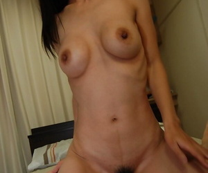 Gaunt japanese MILF gives a blowjob and gets her hairy cunt banged tough