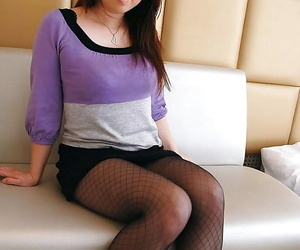 Asian chick in pantyhose Eiko Kawai undressing with an increment of exposing the brush goods