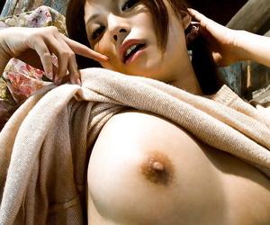 Delicacy asian hottie Azumi Harusaki uncovering say no to chap-fallen erection