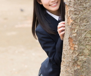Attractive Japanese schoolgirl pulls down panties like one another unvarnished botheration everywhere put emphasize mug up